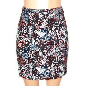 H&M Black Floral Embroidered A Line Mini Skirt